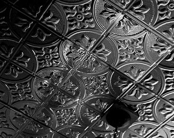 Dramatic Vintage Copper Ceiling // Black and White Fine Art Film Photography // Home Décor // Photo Print
