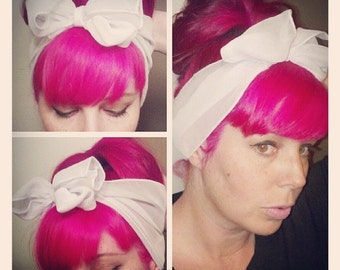SALE White Vintage Style Chiffon Hair Scarf Headwrap Hair Bow 1940s 1950s Rockabilly - Pin Up - For Women, Teens