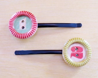 One and Two Wooden Button Bobby Pins