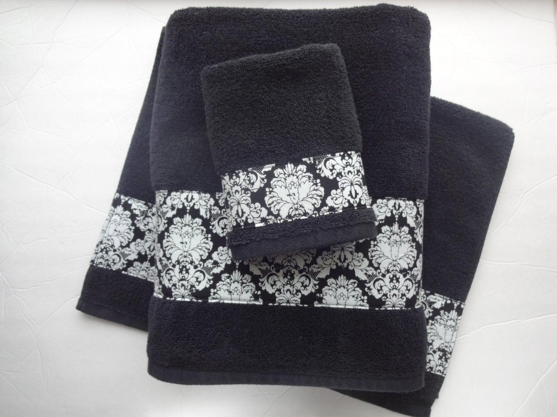Black Damask Bath Towels Black Damask Black Towels Hand