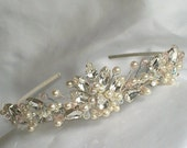 Bridal Wedding Tiara Headpiece  ivory white pearl clear crystal &  diamante Vintage Themed
