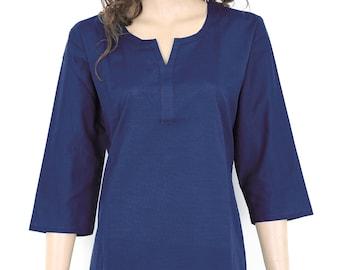 Indian Ethnic Dark Blue Plain Cotton Top / Tunic / Kurti / Kurta / Kurthi / Kurtha / Dress - All Sizes -  903135