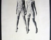Bizarre Glamour Girls floating in air image 1968 Shapely Print Ad