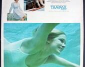Vintage Sixties Swimming Underwater Girl Tampax 1968 Print Ad