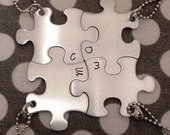 Personalized INITIALS ONLY Hand Stamped Puzzle Piece Necklaces -Choose Your Quantity- Bridesmaids Wedding Graduation bff
