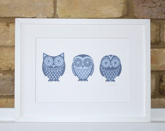 Owl print, Great horned owl, Barn owl, Tawny owl screen print, limited edition hand-pulled print