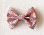 Sweet Leaves, Salmon and Aqua Bow. Available on Headband or Clip. - HSAccessories