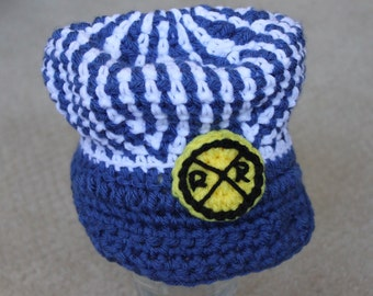 Train Engineer Hat - Blue and White Striped Engineer Hat, Crochet  Baby Hat