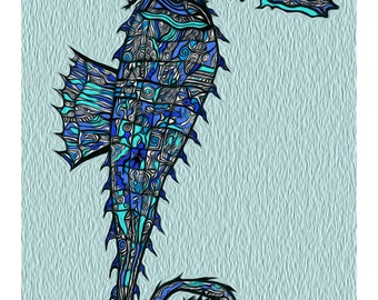 8 1/2 x 11 Seahorse, glossy photo paper, abstract drawing