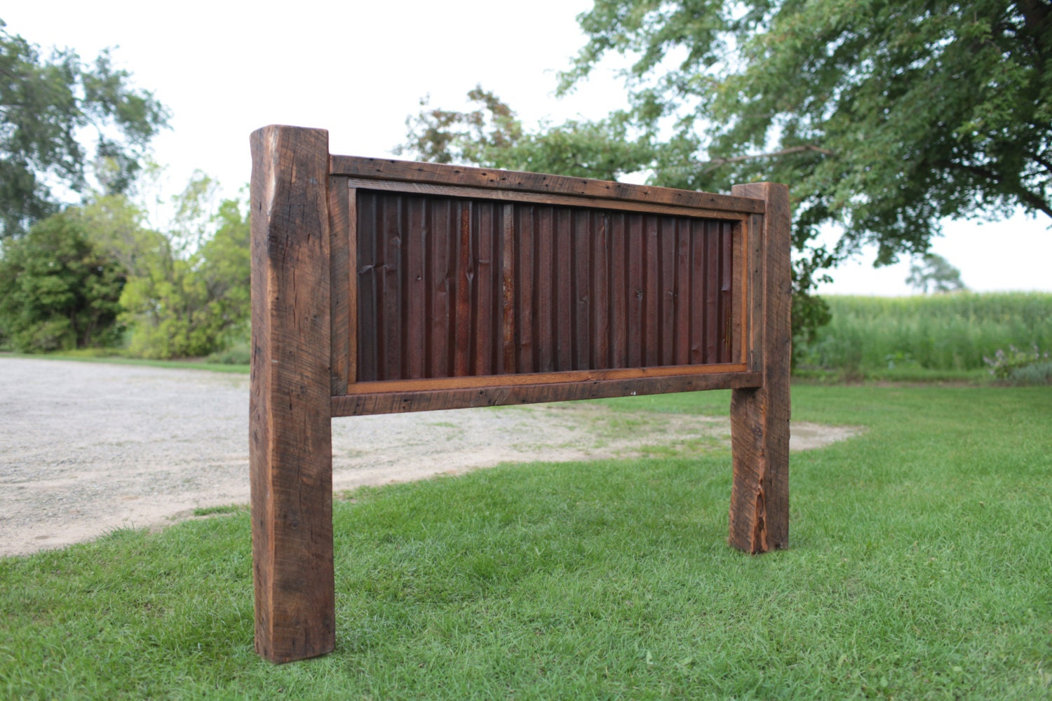 King Or Queen Headboard Reclaimed Barn Wood And Rusty Metal