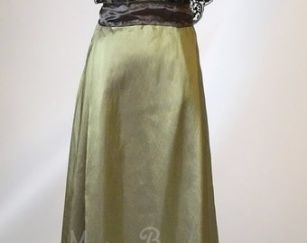 Edwardian Dress plus size handmade in England olive green Titanic Downton Abbey vintage styled lace Swarovski crystals Treasured by many