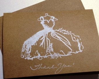 Bridal Shower Thank You Card Set  Embossed White Wedding Gown Bridal Shower Thank You, Wedding Thank You Cards, Dress