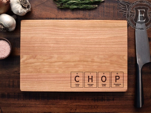 Periodic Table Element Tiles Custom Engraved Wood Cutting Board - CHOP, CHEF, BACON - Science Teacher Christmas Gift, Chemistry Art