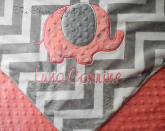 Personalized Baby Blanket, Elephant on Grey Chevron Minky Baby Blanket, Custom Blanket, Made to Order