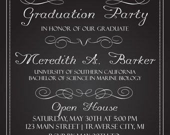 Chalkboard Graduation Invitations - College or High School Graduation Announcement