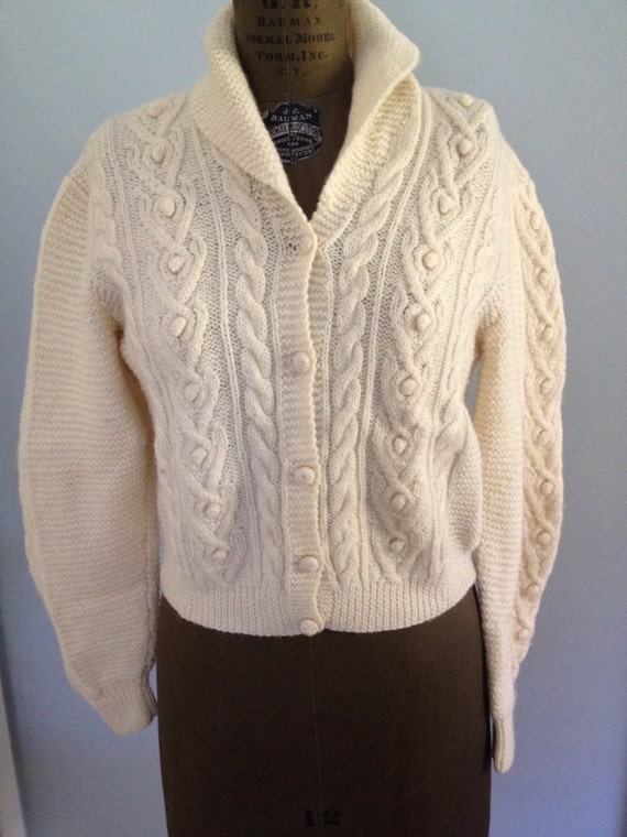 Irish Cable Knit Sweater Patterns : LL Bean Irish knit cable cardigan wool by NorthCountryClassics