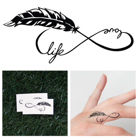 infinity feather symbol temporary tattoo set of 2. Black Bedroom Furniture Sets. Home Design Ideas