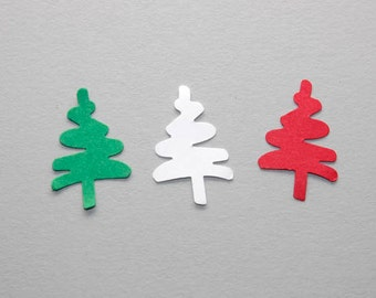 Christmas Tree Confetti, 100 Red, Green & White Christmas Tree Die Cuts, Christmas Trees, Holiday Decor, Christmas Die Cuts