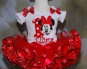 1st Birthday Adorable Minnie Mouse First BirthdayTutu Set , Red  2 pc set includes Appliqued Top and Ribbon Trimmed Tutu