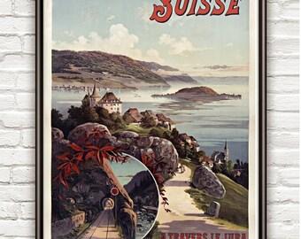 Vintage Poster of Switzerland Suisse , 1897