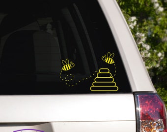 Bumble Bees and Hive Car Window Decal