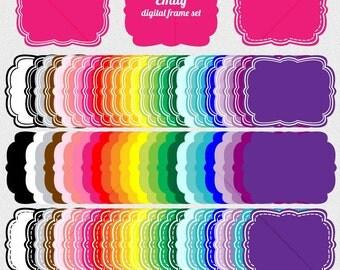75 clip art scrapbook labels, 75 clip art digital frames, clipart frame for digi scrap, scrapbook supplies DIGITAL DOWNLOAD SB-355