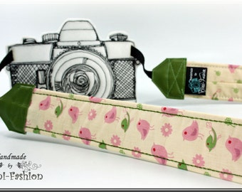 Camera strap, camerastrap, DSLR, retro, green, light pink