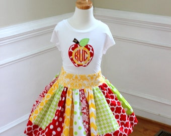 Girls back to school outfit Apple with monogram shirt and matching skirt Back to school red yellow lime green skirt set Girl Apple outfit