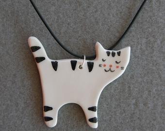 Ceramic Cat Necklace,White,Black,Striped Cat,With Black Necklace,Ceramic,Cat Pendant,Children Jewelry,Handmade,Crazy Cat Lady,Kitten pendant