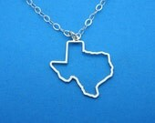 TEXAS OUTLINED Necklace - Sterling Silver Personalized State Country Love Heart Charm Pendant Chain, Hand Cut & Polished in USA