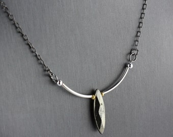 Pyrite sterling silver necklace mixed metal modern necklace unique art jewelry