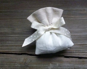 linen favor box bag with natural linen polka dots