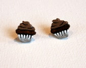 Miniature Cupcake Post Earrings - Chocolate Frosted Chocolate Cupcakes - Handpainted Polymer Clay