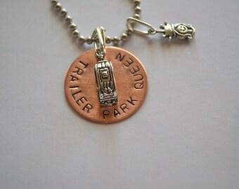 Custom Hand Stamped Trailer Camper Charm Stamped TRAILER PARK QUEEN Necklace