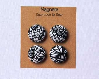 Fabric Covered Button Magnets / Black Lace Magnet / Magnets / Strong Magnets / Refrigerator Magnets / Fridge Magnets