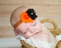Halloween Headband, Baby Headband, Orange and Black Chevron , Halloween Hair Bow, Orange Headband, Baby Halloween Headband