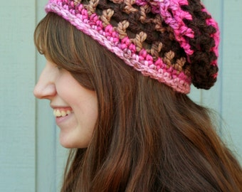 Chocolate Cupcake Adult-Sized Crochet Slouchy Hat - Taking Orders