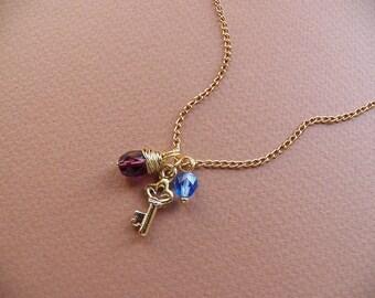 Gold Key Necklace, Amethyst Teardrop, Minimalist Jewelry, Gift