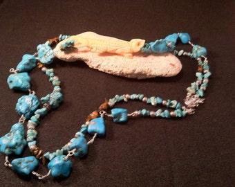 Gecko on the Rocks/ Unique Turquoise Necklace/ Double Strand Turquoise Necklace / Statement Turquoise Necklace