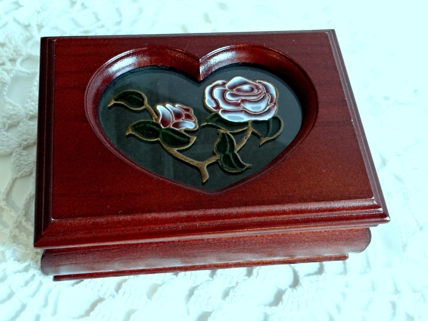 Vintage Wood Jewelry Box With Glass Heart Amp Rose Insert