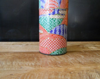 Japanese Abstract Tin Tea Canister
