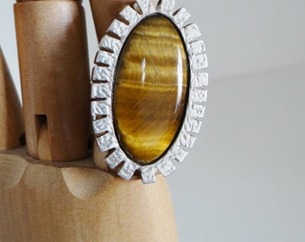 Vintage Silver Ring Solid Silver Oval Tiger's Eye Cabochon Ring - Makers Mark SGC  UK Size Q Circa 1970's