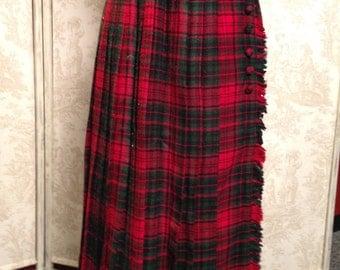 Handmade,Collegiate, Scottish, Kilt Style, Red and Green Plaid, Pleated Skirt