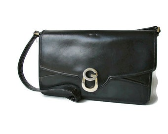 Gucci bag Leather Vintage Gucci shoulder bag Black leather bag Made in Italy Gucci women purse Gift for her Genuine Gucci Statement bag gift