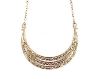 Egyptian aztec statement necklace, african tribal bib necklace, gold chunky collar necklace