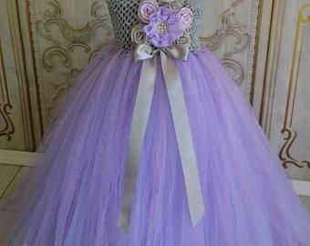 Lavender and Grey  Flower girl tutu dress