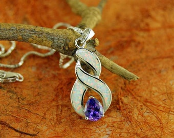 White Opal Inlay Pendant w/ Center Amethyst Stone and Chain - 100% Sterling Silver - Gift Idea - Anniversary Gift