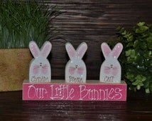Easter Block Set-Personalized Wood Block Love Set - home decor primitive block gift holiday wood sign Personalized Easter Decor