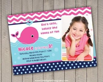 Whale Invitation / Whale Birthday Invitation /  Whale Invites / Preppy Whale Birthday Invitation / pink Whale Invitation Printable