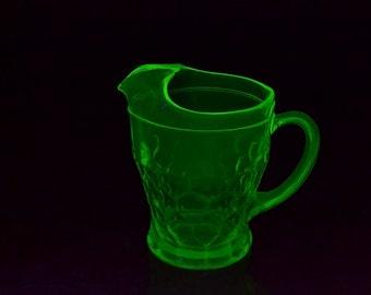 Vintage Green Vaseline Glass Water Pitcher